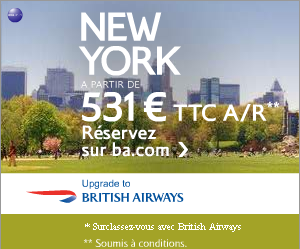 BRITISH AIRWAYS : NEW-YORK à partir de 531 euros TTC A/R