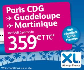 XL : Vols pour les Antilles à partir de 359€ TTC AR